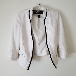 White fringe tailored blazer
